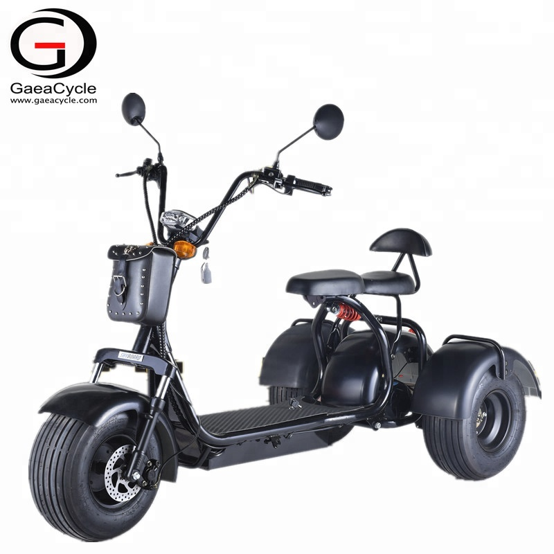 Gaea 3 wheels electric scooter citycoco 18*9.5 fat tire electric bike