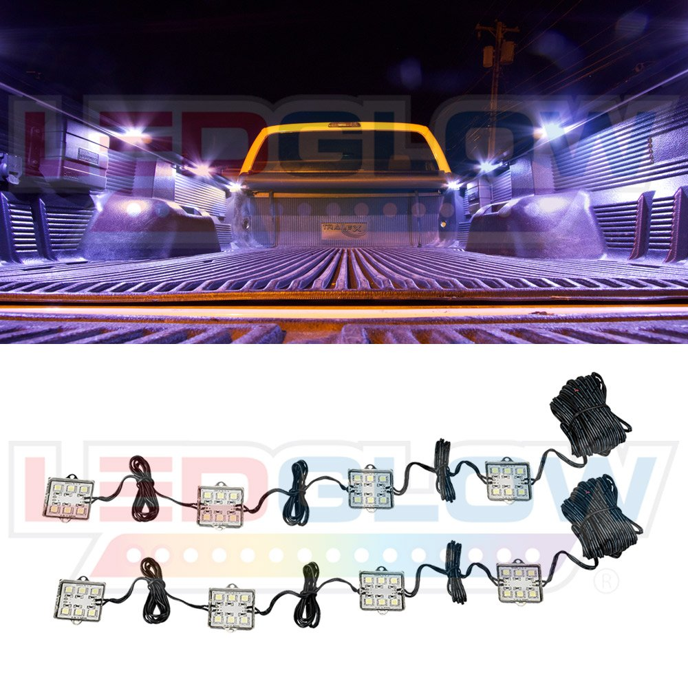 LEDGlow 8pc Universal Truck Bed Light Kit for Bed Rails with 48 Flat Bright White LEDs