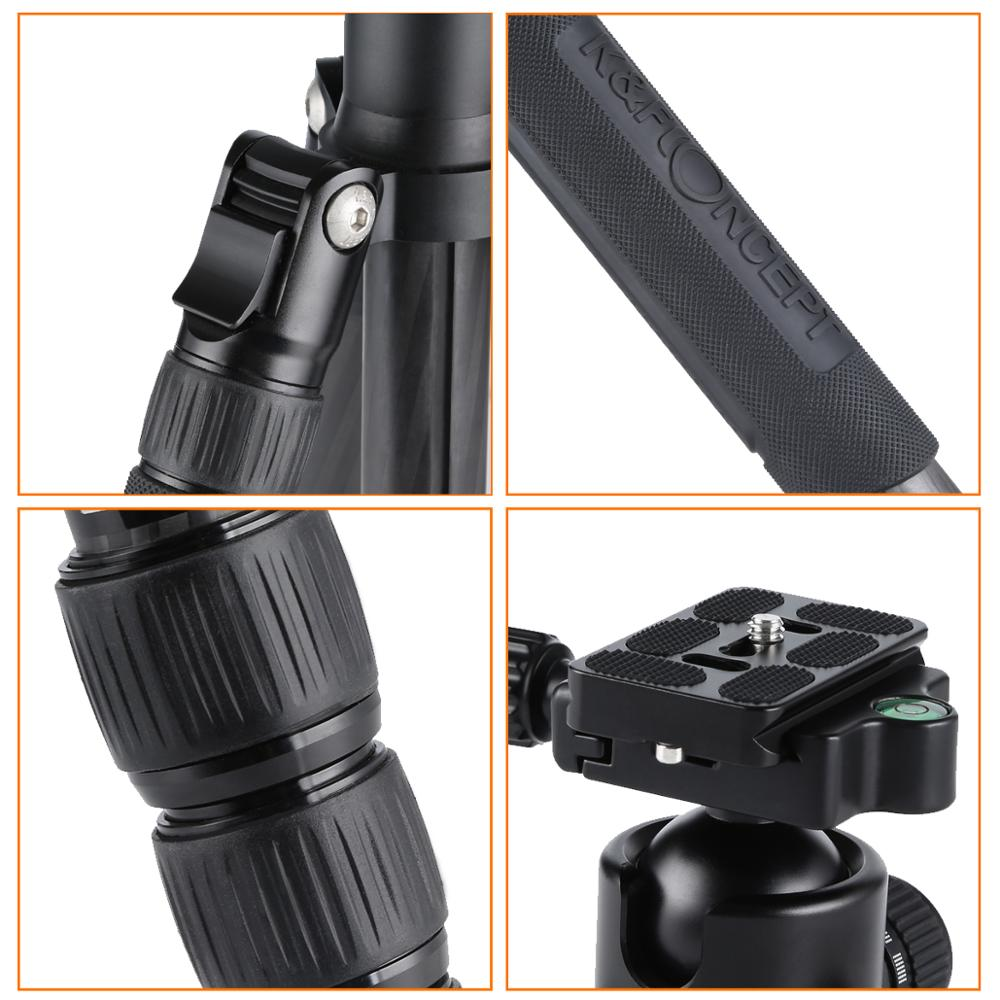 K&F Concept Carbon Fiber Tripod 28mm TC2834C 62 inch Compact Monopod .Foldable detachable  With Ball Head