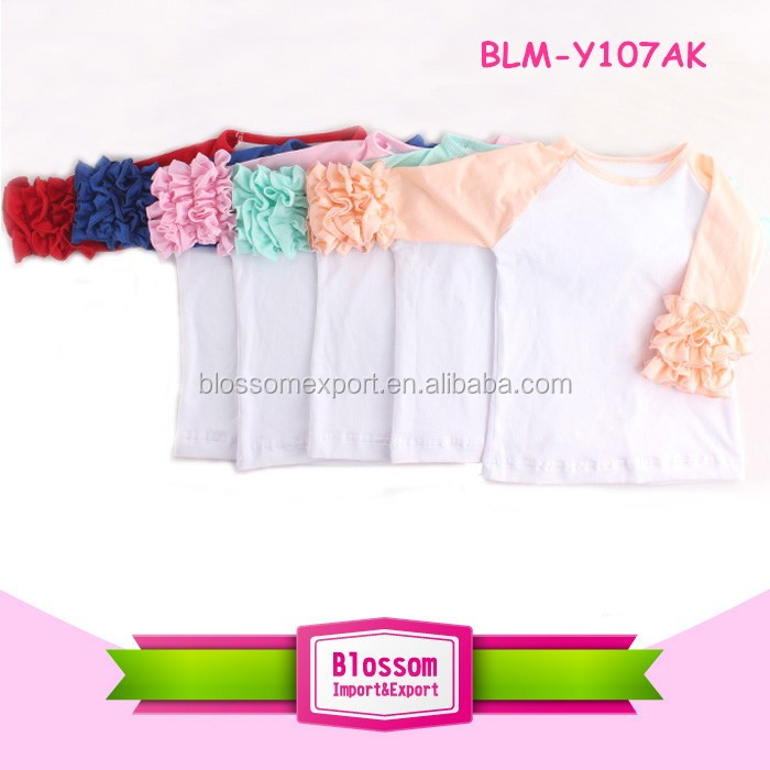 Girls fall shirts baby icing raglan ruffle shirts Baby Girls Ruffle Raglan 3/4 Sleeves Shirts