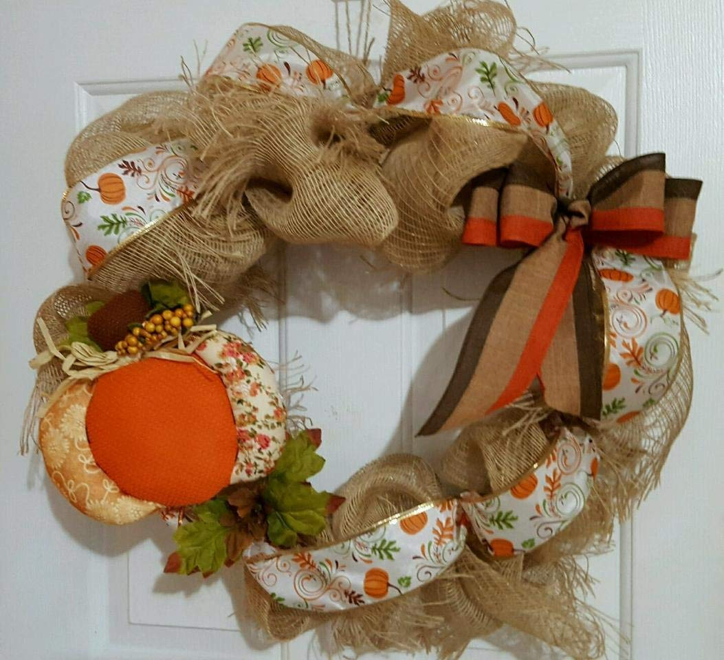Fall Frayed Burlap Pumpkin Wreath 20""