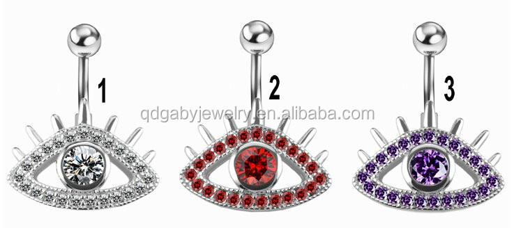 Evil eye gem 316L surgical steel Navel Belly Rings Body Piercing Jewelry