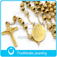 Religious mens 14k gold plated rosary beads gold rosary beads necklace men