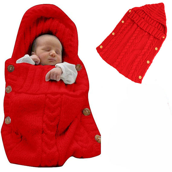 Newborn Cotton cable Baby wrap swaddle Knitted toddler baby sleeping bag