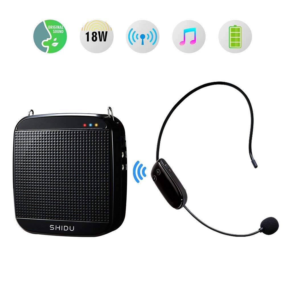 Wireless Voice Amplifier 18W,SHIDU 2.4G Portable Microphone and Speaker Personal Mini Pa System with Wireless Microphone Headset for Teachers,Singing,Tour Guides,Coaches,Classroom,Elderly,Yoga,