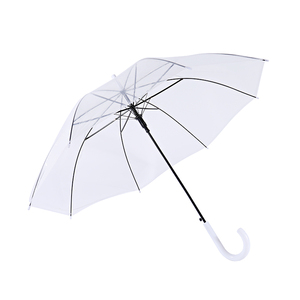 Cheapest Promotional Custom Logo white handle Straight POE Clear Advertising Umbrellas disposable umbrella