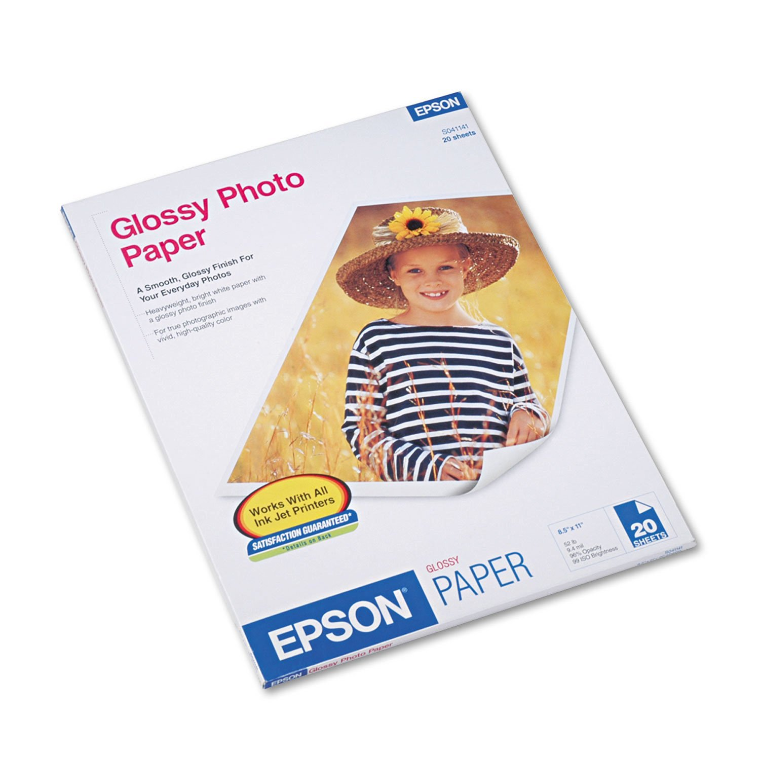Epson Glossy Photo Paper, 60 lbs., Glossy, 8-1/2 x 11, 20 Sheets/Pack