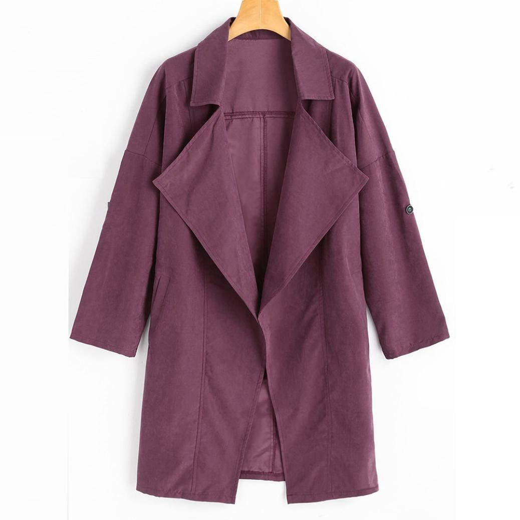 Women Jacket, Gillberry Women Loose Long Sleeve Solid Coat Tops Jacket Windbreaker Parka Outwear (Purple Red, M)