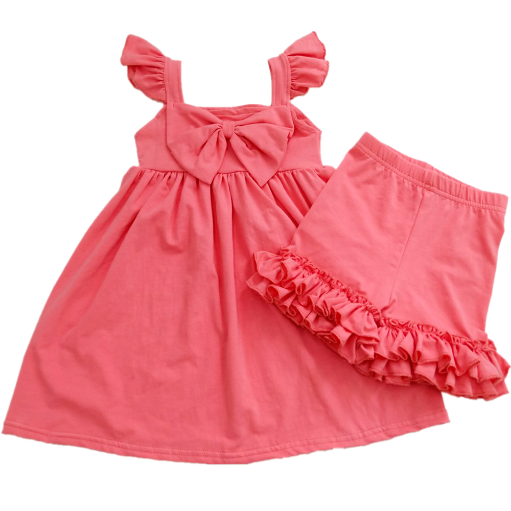 Wholesale Kids 2 Piece Summer Clothing Green Dress And Ruffle Pants Sets Girls