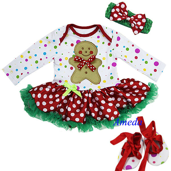 Baby Christmas Gingerbread Man Colorful Polka Dots Long Sleeves Bodysuit Jumpsuit Romper Pettiskirt Headband Crib Shoes NB-18M