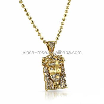 Fashion Customs Name Jesus Piece Hip Hop Jewelry Big Real Gold
