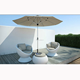 modern unique design terrace patio rattan furniture with round bar table swivel egg pod chair