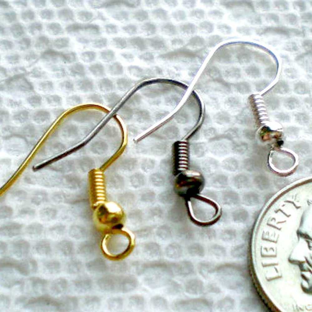 Mix Ear Wire Fish Hooks for Jewelry Making, Silver/Gold/Black