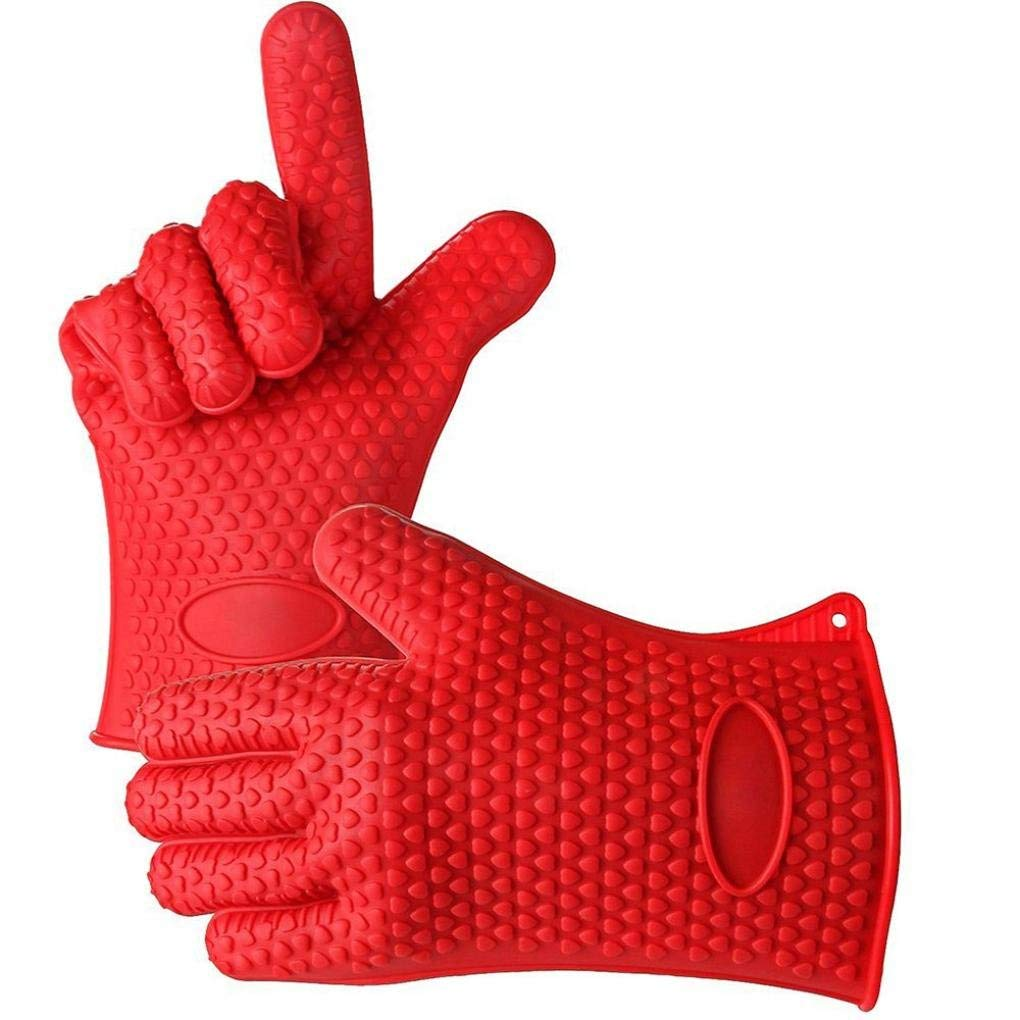 Binmer(TM) Kitchen Heat Resistant Silicone Glove Oven Pot Holder Baking BBQ Cooking Mitt (red)