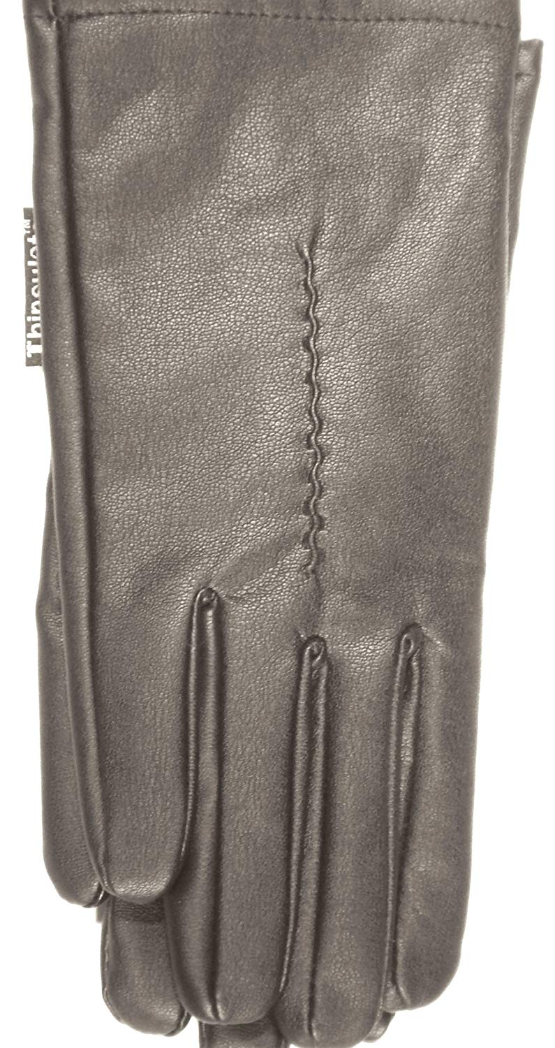 4fmg2.074, 4fmg2.002, Genuine Black Very Soft Leather Microfiber Lined Luxurious Looking Gloves for Women Size Large