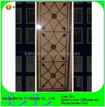 New Design Ornamental Iron Glass Door Grilles Inserts Wholesale