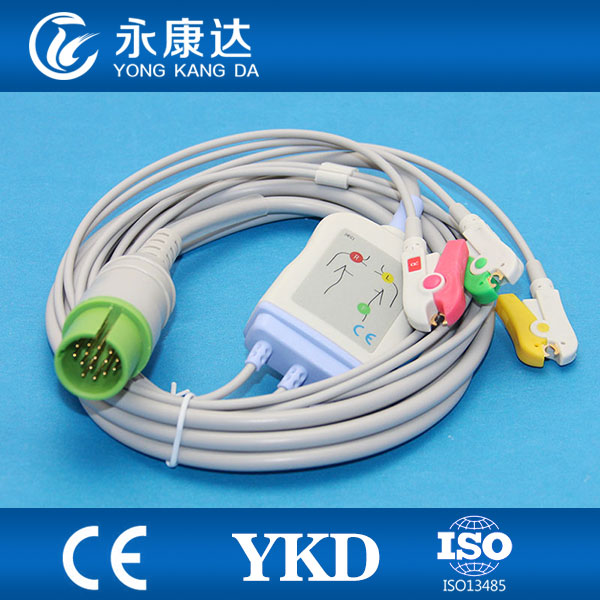 Spacelab 17pin 3 leads ECG cable with IEC clip for Ultraview series patient monitor,CE&ISO13485 proved