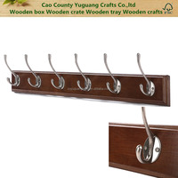 Modern Wall Mounted Brown Wood 6 Double Hooks Hanger Organizer Rack / Coat & Towel Hanging Rack