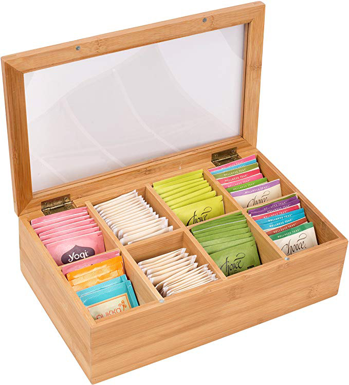 Custom Logo Wood Gift Boxes Glass Lid Rustic Wooden Tea Bag Storage Box With Clear Window 3