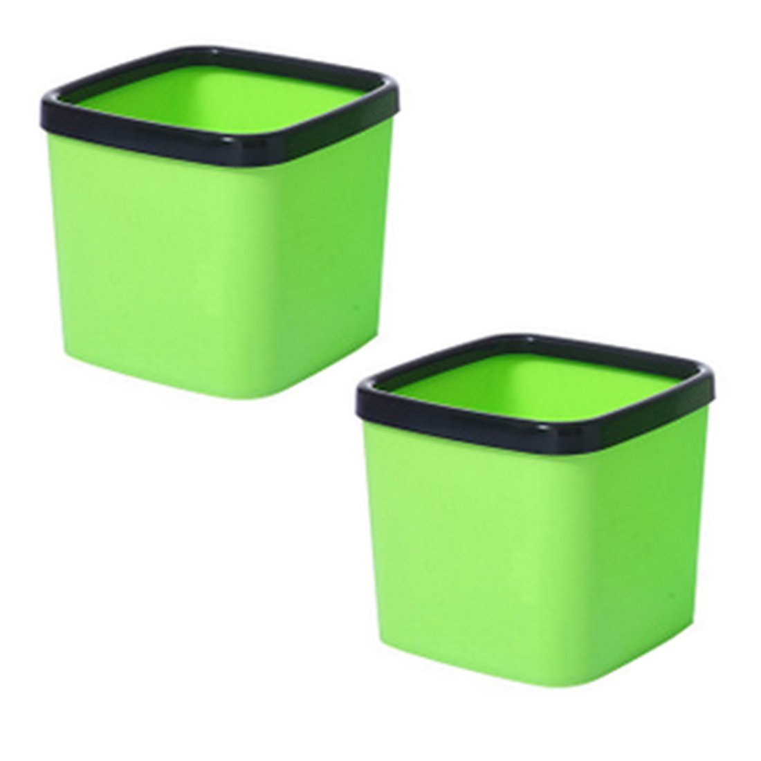 XSHION 2 Pack Garage Can, Square Plastic Kitchen Trash Can Without Lid  Desktop Trash Can Waste Paper Container Open Wastebasket