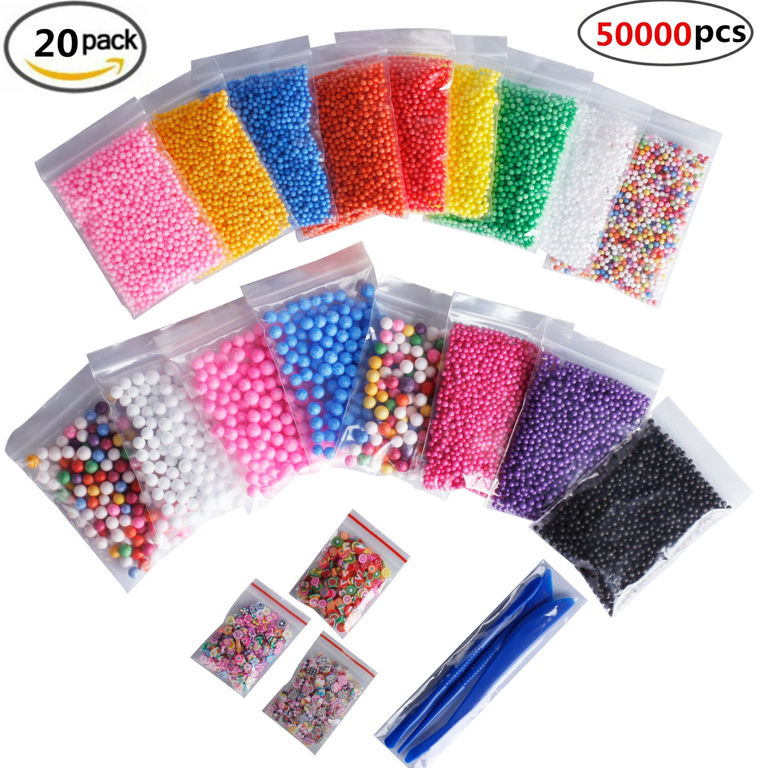 "SHEEFLY 20 pack 50000 Pieces Colorful Styrofoam Foam Balls for Slime, Craft Foam Beads 0.08-0.35""with 3 Slime Tools for Slime Making Art DIY Craft Wedding Party Decoration"