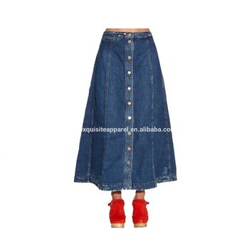 2e6280d4faa Custom Long Jean Skirts with Frayed Hem Ladies Long Skirts Maxi Denim  Skirts Wholesale
