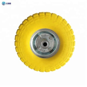 Yellow 350-4 PU foam filled rubber tires PU tyres