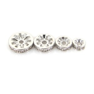 Wheel Spacer CB33043 Cubic Zirconia Mirco Pave Rhodium Plated Brass Wheel Spacer Beads for Making Jewelry