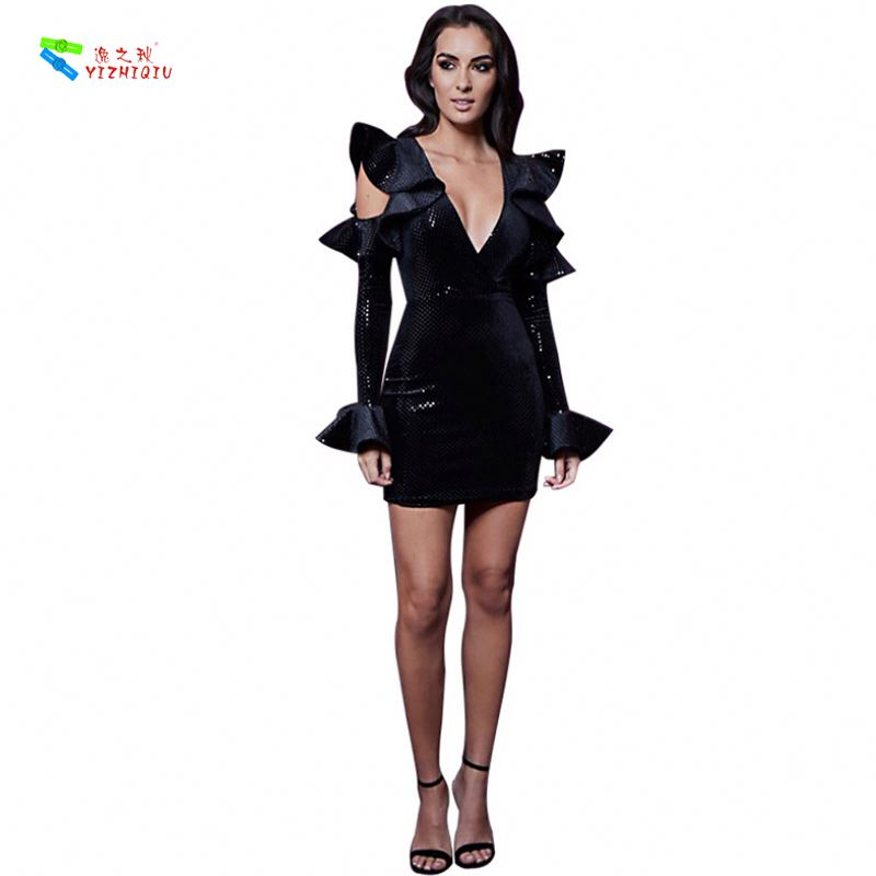 YIZHIQIU Hollow Flared Sleeves Sexy Hip Open Breast V Neck Sequined Woman Dress