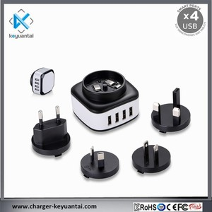 Interchangeable adapter 4 port usb wall charger with eu,us,uk,au plugs
