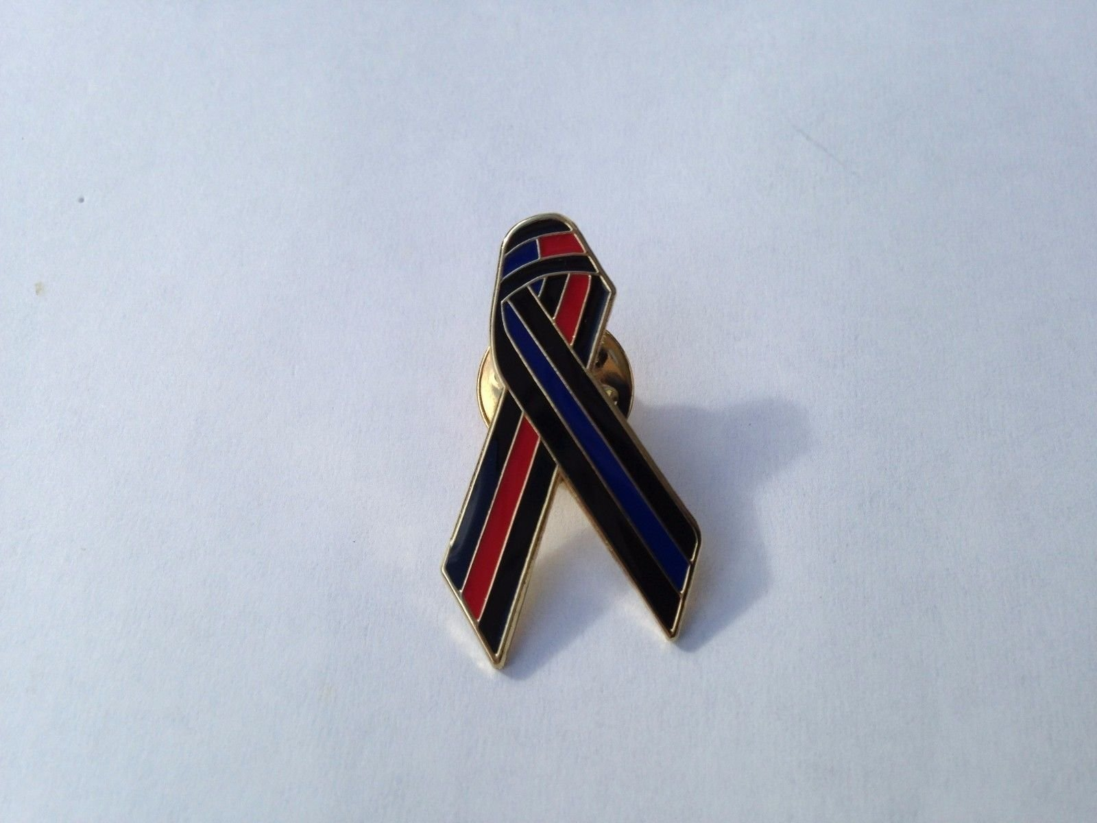 3ff368a74f7b Get Quotations · Thin Red Line Thin Blue Line Awareness Ribbon Lapel Pin  Support Fireman Police Officers Cops Firefighters