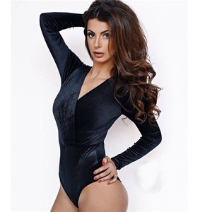 2017 Sexy Skinny Button Bodysuit Women Long Sleeve Black Body Chic Suit Womens Tops Feminino Romper V-Neck Sheer Bodysuits