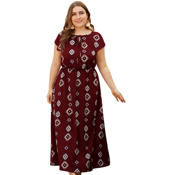2019 wholesale printed womens Plus size summer maxi long one piece dress