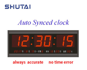 [SHUTAI] POE NTP/WiFi-Sync LED Digital Wall Clock