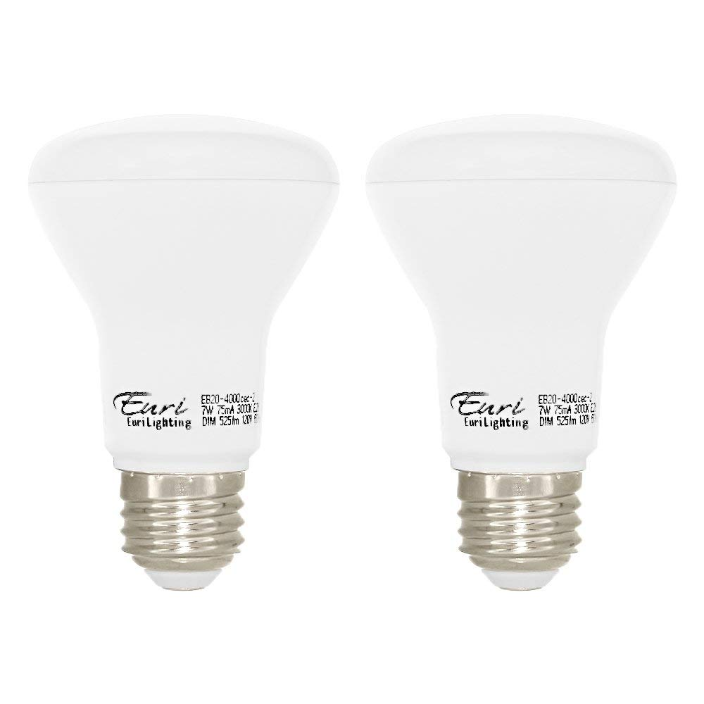 Euri Lighting EB20-4000cec-2 LED BR20 Bulb, E-Lite Line, Soft White 3000K, Dim, 7W (50W Equivalent) 525 lm, 105 Degree Beam Angle, 90+ CRI, Med. Base (E26) UL, E-Star Listed, CEC (Pack of 2)