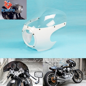 "ZJMOTO 5-3/4"" Bright White + Clear Head Lamp Fairings Front Headlight Fairing Motorcycle Parts Fit To Harley Custom Cafe Racer"