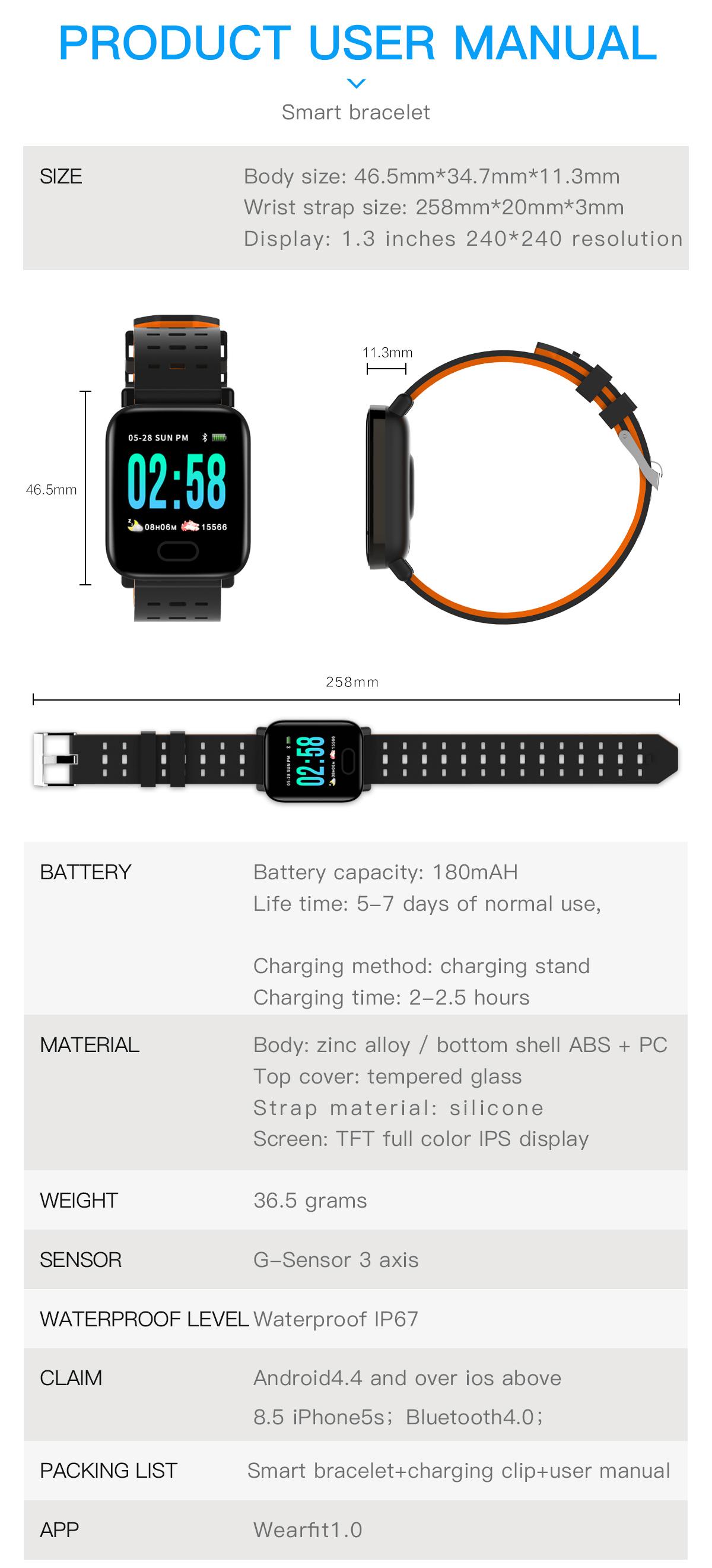 2019 High Quality A6  Smart Bracelet Cheap Reloj Inteligente Sport Band Android A6 Smart Watch