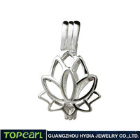 Topearl Jewelry SWP11 Lotus Flower Love Wish Pearl Cage Pendant Jewelry 925 Sterling Silver Cage
