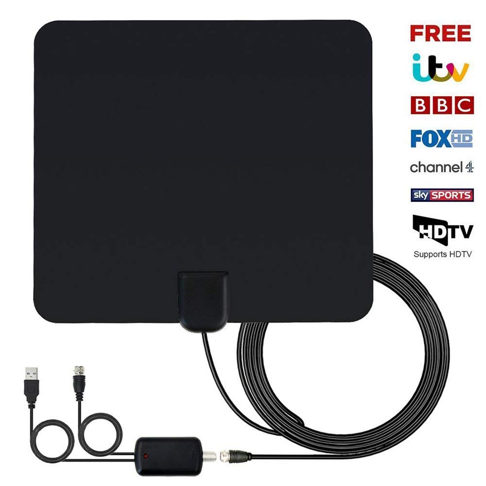 Updated 2018 Version TV Antenna, Indoor Digital HDTV Antennas Amplified 60-80 Mile Range 4K HD VHF UHF Freeview for Life Local Channels Broadcast for All Type of Home Smart Television - Never Pay Fees