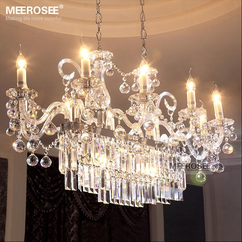 Dining Room Chandeliers Traditional Crystals: Gorgeous Rectangle Crystal Chandelier Light Fixture 13