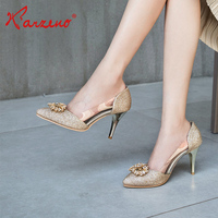 Sexy women 7cm crystal design dress ladies shoes golden girls high heel shoes for party