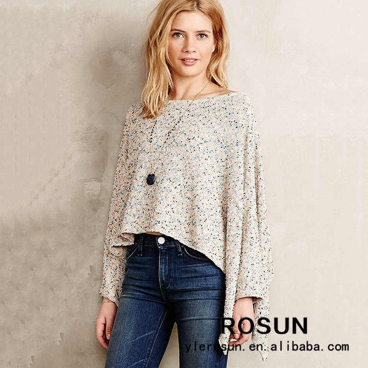 Assimétrica Pullover Poncho, mulheres Poncho Camisola, salpicado Poncho Pullover