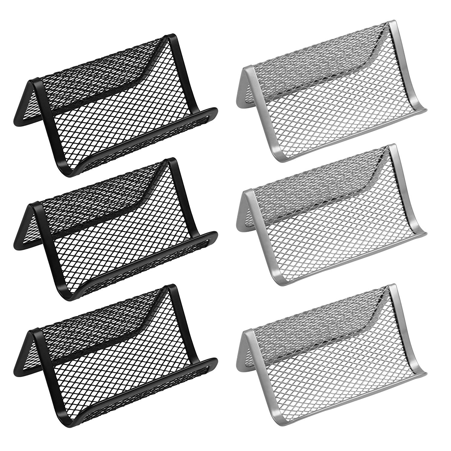 Cosmos Pack of 6 Metal Mesh Business Card Holder Business Card Holder Card Display Mesh Collection Organizer for Name Card, Black & Silver Color