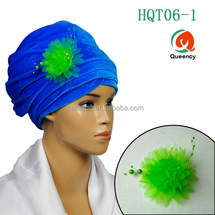 HQT06 Queency Hot Selling High Quality African Stylish Velvet Turban Gele for Women Head Wrap with Flower Brooch