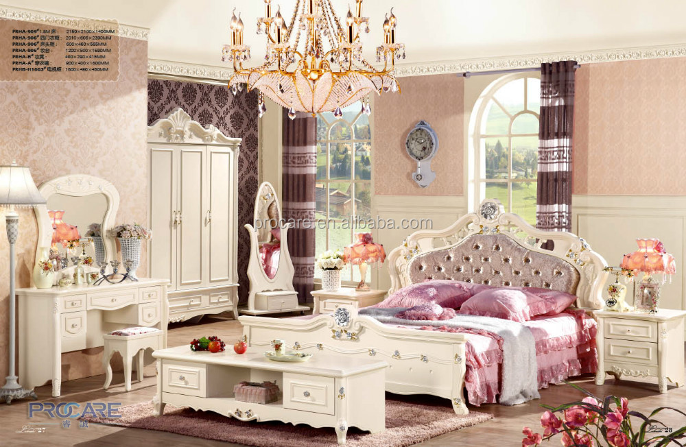 European style furniture rococo kids bedroom furniture set