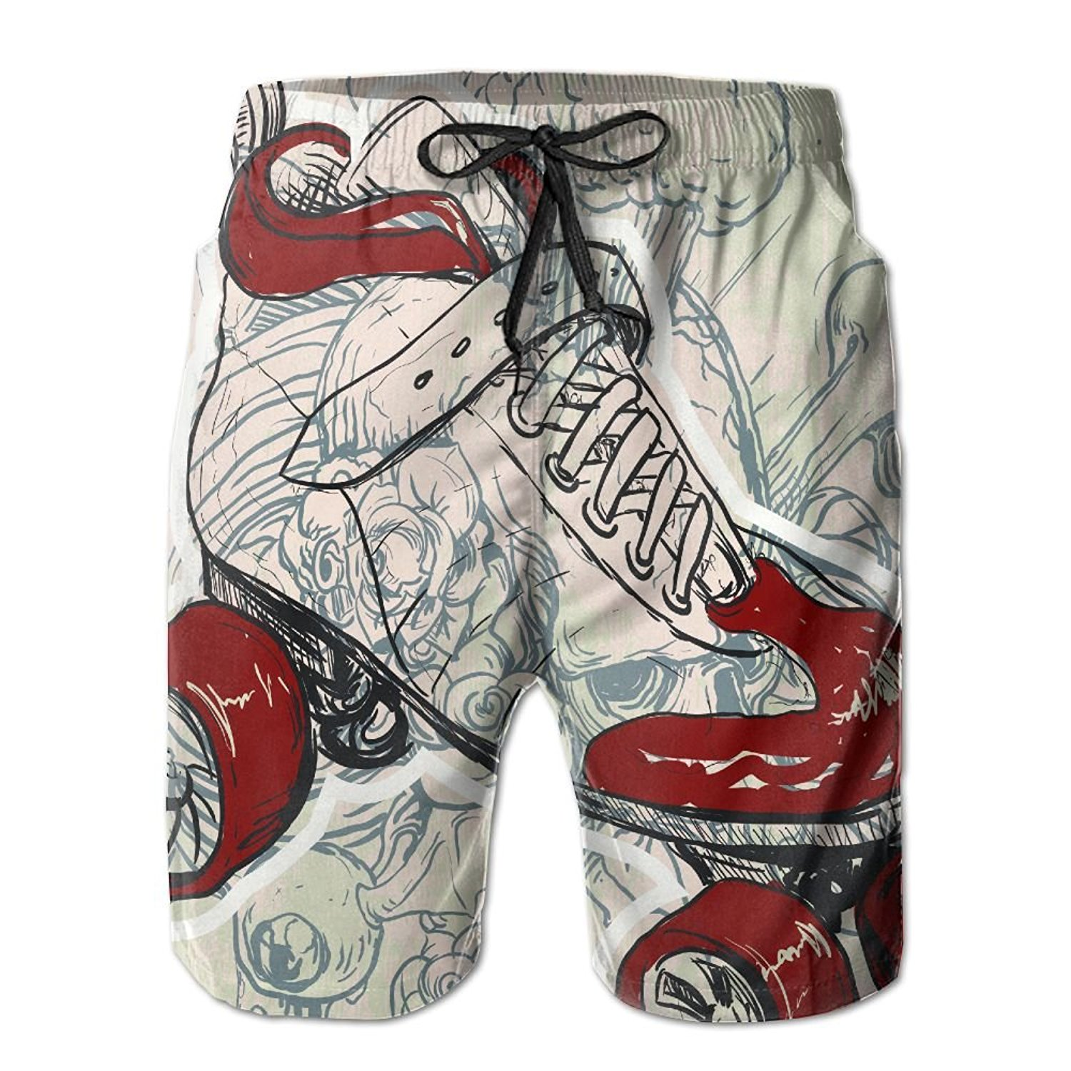 4a53b0144d Get Quotations · Men's Retro Roller Skate Beach Shorts Swimming Trunks  Cargo Shorts