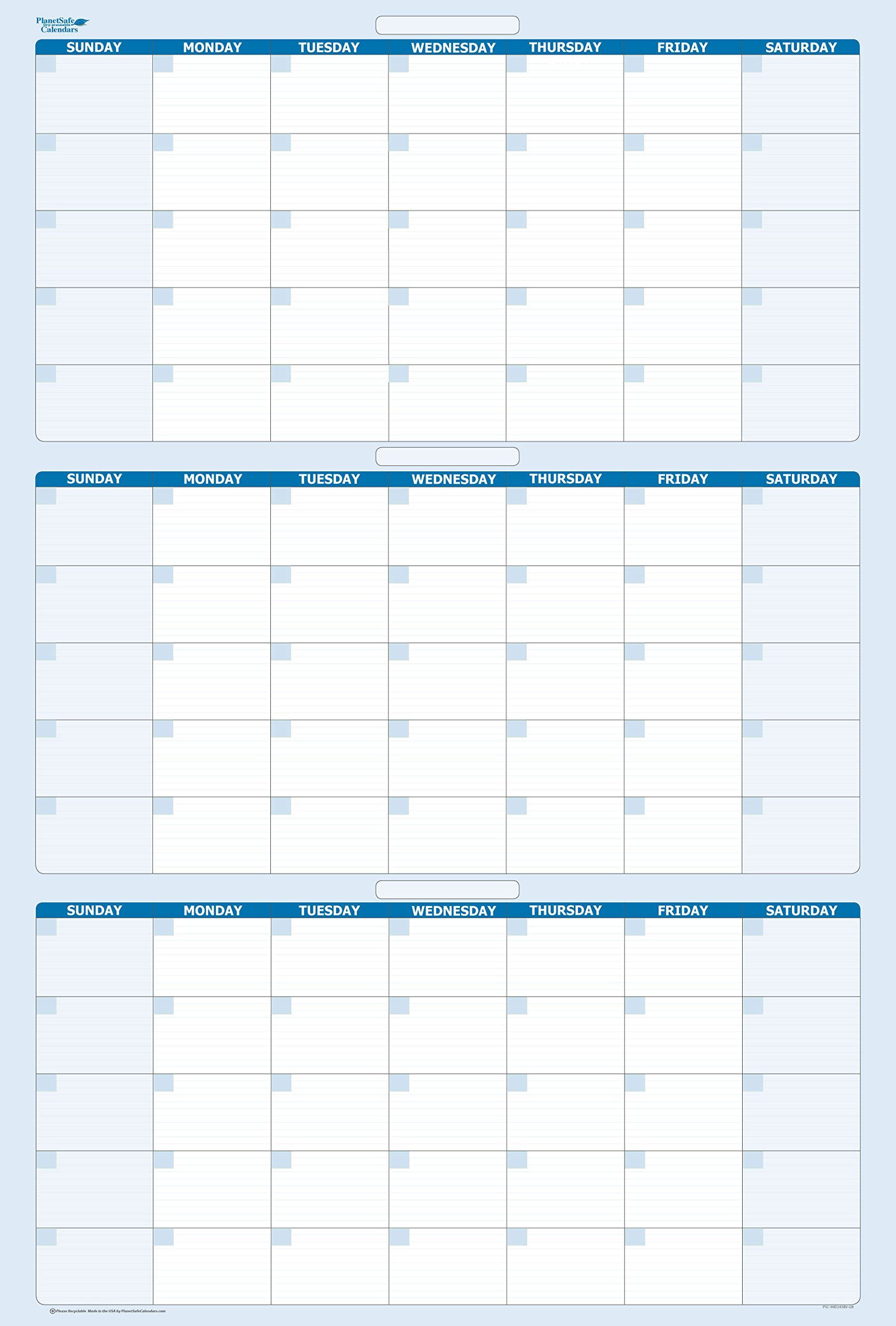 Sky Blue 90-Day / 3-Month Quarterly Vertical Dry/Wet-Erasable Wall Calendar 36 in. x 24 in.