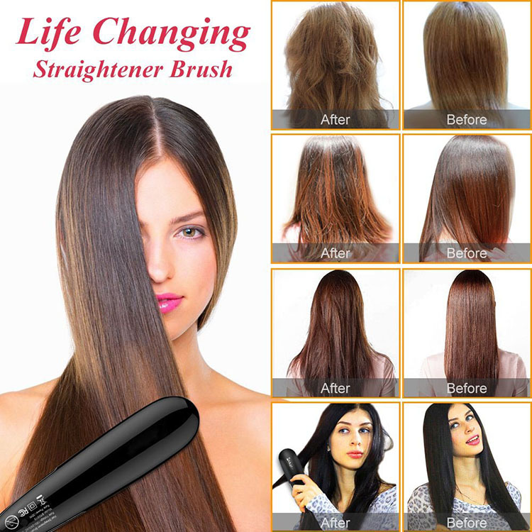 2019 Hot Selling on amazon ceramic mini electric fast hair straightener brush
