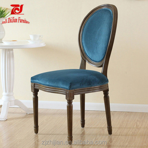 Velvet French Louis Wood Chair ZJF0h