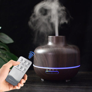 New Products Idea Remote Control Wood Grain Mist Fountain Oil Difuser /Ultrasonic Incubator Humidifier